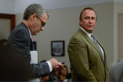 Francisco Kjolseth   Tribune file photo Assistant U.S. Attorney from Denver, Timothy Jafek, left, addresses the judge as former Utah Attorney General Mark Shurtleff, right, facing public corruption charges, appears in Judge Elizabeth Hruby-Mills courtroom in Salt Lake City on Monday, Sept. 28, 2015, for a pre-trial hearing.