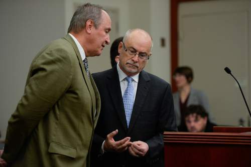 Francisco Kjolseth | The Salt Lake Tribune Former Utah Attorney General Mark Shurtleff, left, facing public corruption charges, speaks with his attorney Richard Van Wagoner, as he appears in Judge Elizabeth Hruby-Mills courtroom in Salt Lake City on Monday, Sept. 28, 2015, for a pre-trial hearing.