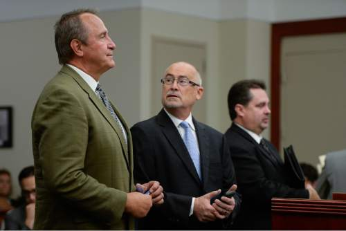 Francisco Kjolseth   The Salt Lake Tribune Former Utah Attorney General Mark Shurtleff, left, facing public corruption charges, appears in Judge Elizabeth Hruby-Mills courtroom alongside his attorney Richard Van Wagoner, center, in Salt Lake City on Monday, Sept. 28, 2015, for a pre-trial hearing. At right is Davis County prosecutor Troy Rawlings.