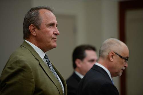 Francisco Kjolseth | The Salt Lake Tribune Former Utah Attorney General Mark Shurtleff, facing public corruption charges, appears in Judge Elizabeth Hruby-Mills courtroom in Salt Lake City on Monday, Sept. 28, 2015, for a pre-trial hearing.