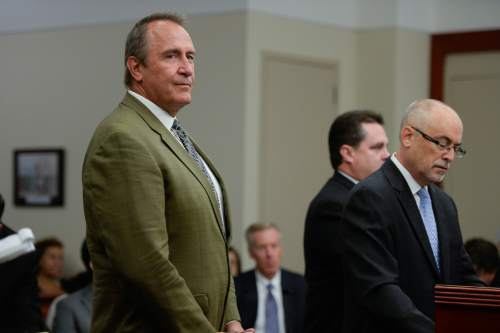Francisco Kjolseth | The Salt Lake Tribune Former Utah Attorney General Mark Shurtleff, left, facing public corruption charges, appears in Judge Elizabeth Hruby-Mills courtroom alongside his attorney Richard Van Wagoner in Salt Lake City on Monday, Sept. 28, 2015, for a pre-trial hearing.