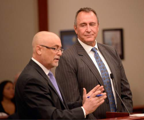 Al Hartmann     The Salt Lake Tribune  Former Utah Attorney General Mark Shurtleff stands with his attorney Richard Van Wagoner, left, as he pleads not guilty to five felonies and two misdemeanors on behalf of his client former Utah Attorney General Mark Shurtleff in Judge Elizabeth Hruby-Mills courtroom in Salt Lake City on Monday, June 29, 2015.