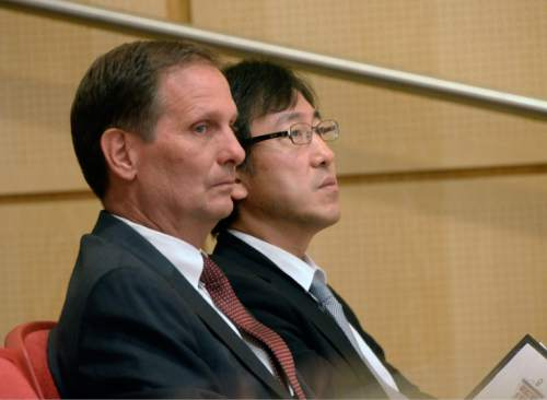 Al Hartmann  |  The Salt Lake Tribune  Rep. Chris Stewart, left, and Atsuyuki Oike, Deputy Chief of Mission, Embassy of Japan to the United States listen to keynote speaker at Stewart's annual conference on ìAmericaís Role in the Worldî at the University of Utah on Friday.