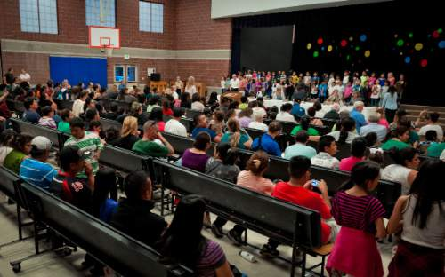 Michael Mangum  |  Special to the Tribune  Parkview Elementary 2nd graders prepare to sing a musical number before the beginning of a public meeting of the City Council of Salt Lake City held at Parkview Elementary School in Salt Lake City on Tuesday, October 7, 2014.