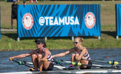 Courtesy  |  U.S. Rowing  Park City's Devery Karz and pair partner Kate Berko celebrate their qualification for the Rio Games at the 2016 Olympic Team Trials in Sarasota, Fla., in April.
