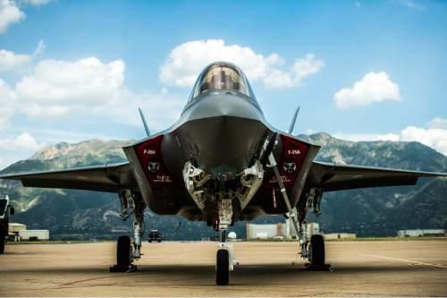 Chris Detrick  |  The Salt Lake Tribune A F-35 arrives at Hill Air Force Base Wednesday September 2, 2015.
