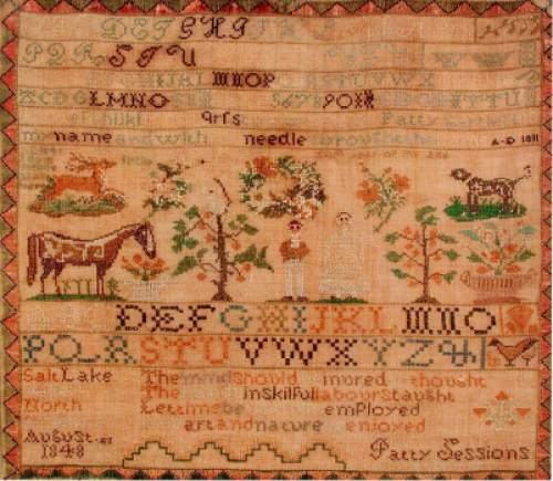 Courtesy photo  Patty Bartlett Session sampler. This sampler was begun in Maine in 1811 and finished in the Salt Lake Valley in 1848.