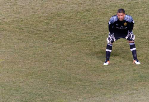 Michael Mangum  |  Special to the Tribune  Real Salt Lake goalkeeper Nick Rimando (18) watches play develop during the first half their match against the Colorado Rapids at Rio Tinto Stadium in Sandy, UT on Saturday, April 9, 2016.
