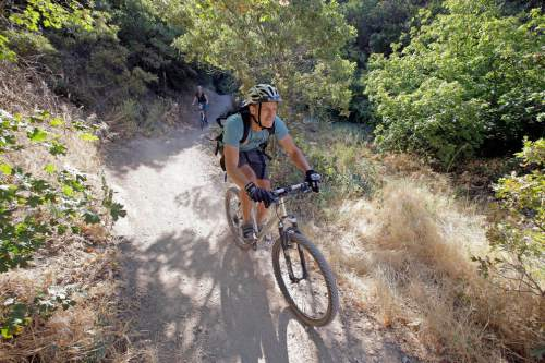 This Wednesday, July 27, 2016, photo, a biker rides along a trail in Salt Lake City. More than 100 million acres of America's most rugged landscapes designated as wilderness are off-limits to mountain bikers, but two Utah senators Mike Lee and Orrin Hatch, both Utah Republicans, have introduced legislation that would allow bikers to join hikers and horseback riders in those scenic, undisturbed areas. The proposal is controversial within the biking community and opposed by conservationists who say bikes would erode trails and upset the five-decade notion of wilderness as primitive spaces. (AP Photo/Rick Bowmer)