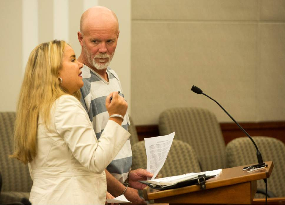 Rick Egan     Tribune file photo  Flint Wayne Harrison listens to his attorney, Susanne Gustin, as he makes his initial court appearance for kidnapping charges at the Farmington Courthouse, Monday, May 23, 2016.  Harrison was found dead in his jail cell July 25, 2016, having apparently hung himself.