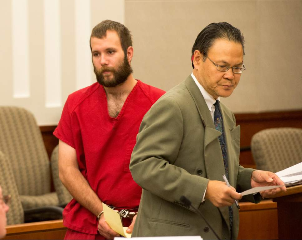 Rick Egan     The Salt Lake Tribune  Dereck James Harrison stands with public defender Ron Fujino, as he makes his initial court appearance for kidnapping charges at the Farmington Courthouse, Monday, May 23, 2016.  Harrison's father, Flint, was found dead in his jail cell July 25, 2016, having apparently hung himself.
