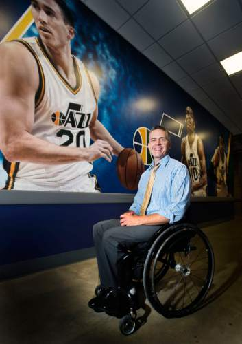Steve Griffin / The Salt Lake Tribune  Jeff Griffin, of the Wheelin Jazz and Mormon seminary instructor at Murray High School, inside Vivint Smart Home Arena in Salt Lake City Monday August 1, 2016.