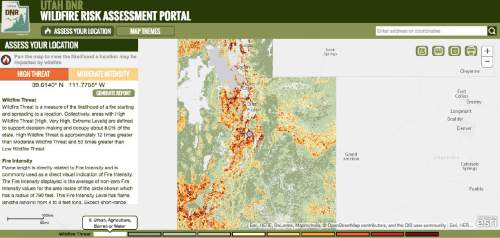 |  Utah Department of Natural Resources  The Utah Department of Natural Resources launched a new website mapping fire risks statewide on Thursday, August 4.