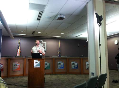 Courtney Tanner  |  The Salt Lake Tribune  Nate Barrons at the announcement that the Utah Department of Natural Resources launched a new website mapping fire risks statewide on Thursday, August 4.
