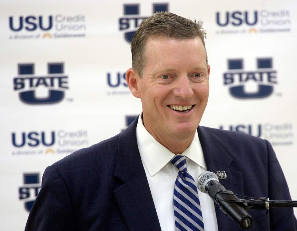 Al Hartmann |  The Salt Lake Tribune Utah State University introduced John Hartwell as its new vice president and director of athletics at the Wayne Estes Center Wednesday June 3, 2015, in Logan. He will begin his duties in mid-July.