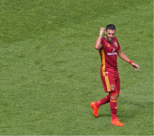 Michael Mangum     Special to the Tribune  Real Salt Lake midfielder Javier Morales (11) celebrates his second goal during their MLS match against the Chicago Fire at Rio Tinto Stadium in Sandy, Utah on Saturday, August 6th, 2016.