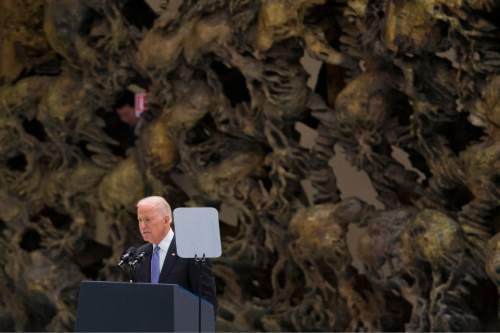 US Vice President Joe Biden delivers his speech at  a congress on the progress of regenerative medicine and its cultural impact, being held in the Pope Paul VI hall at the Vatican,  Friday, April 29, 2016. (AP Photo/Andrew Medichini)