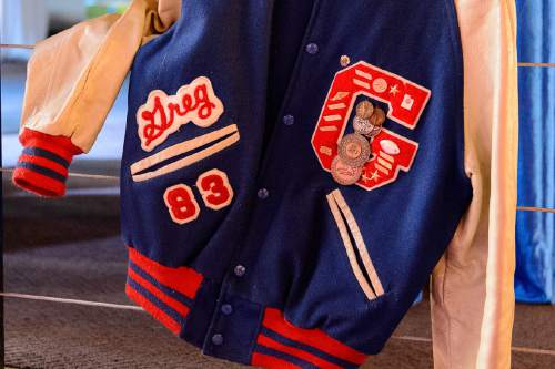 Trent Nelson  |  The Salt Lake Tribune A varsity jacket on display at the Granite High School reunion in Salt Lake City, Saturday August 6, 2016. This was an unusual high school reunion -- for all alumni of all graduating classes for the school that was open from 1906 to 2009.