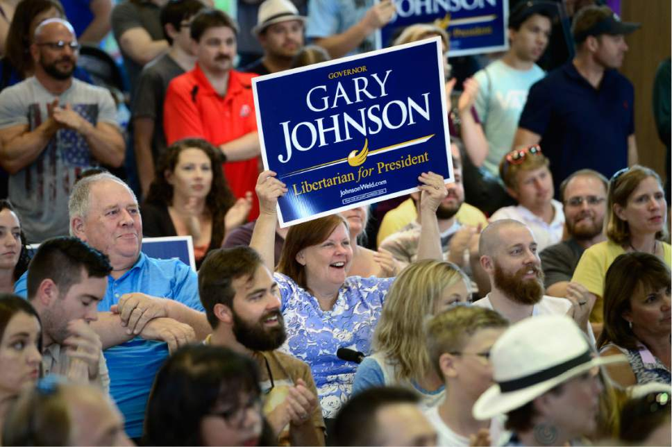Scott Sommerdorf   |  The Salt Lake Tribune   Supporters cheer at a rally for Gary Johnson, Libertarian for President at the University of Utah Student Union on Saturday.