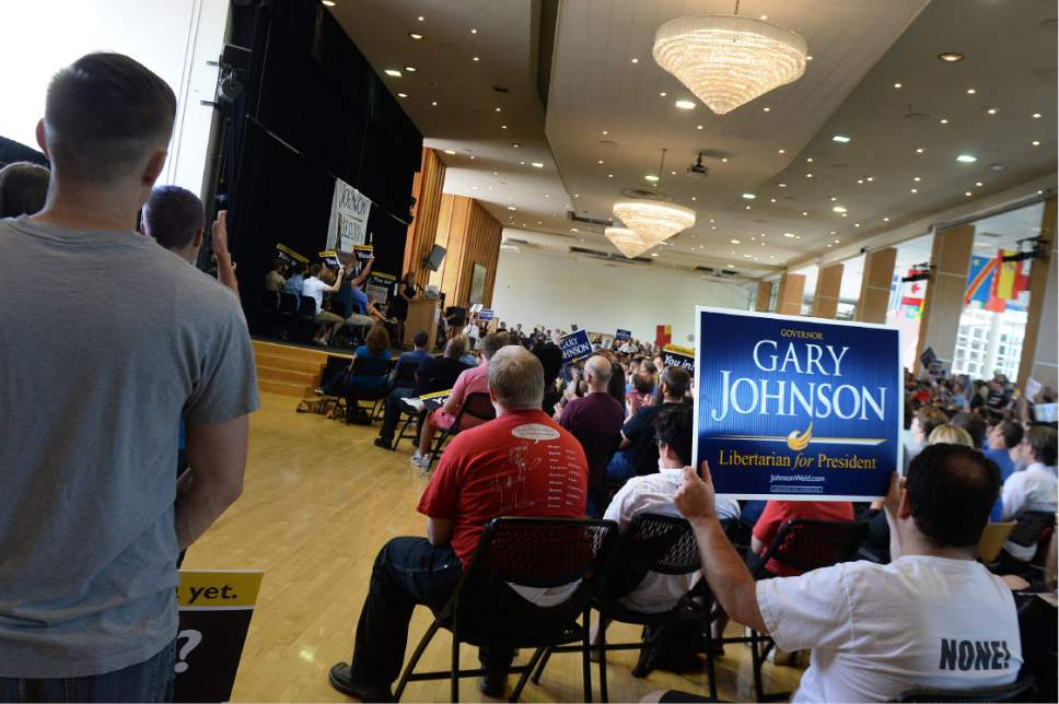 Scott Sommerdorf   |  The Salt Lake Tribune   Supporters cheer at a rally for Gary Johnson, Libertarian for President at the University of Utah Student Union, Saturday, August 6, 2016.