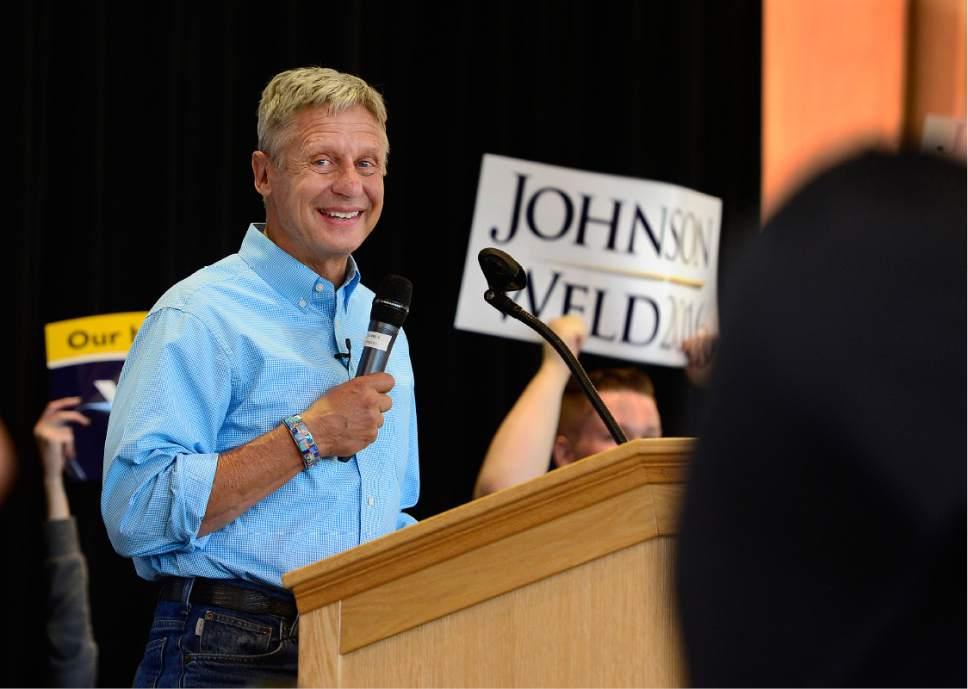 Scott Sommerdorf   |  The Salt Lake Tribune   Gary Johnson, Libertarian candidate for President speaks at the University of Utah Student Union, Saturday, August 6, 2016.