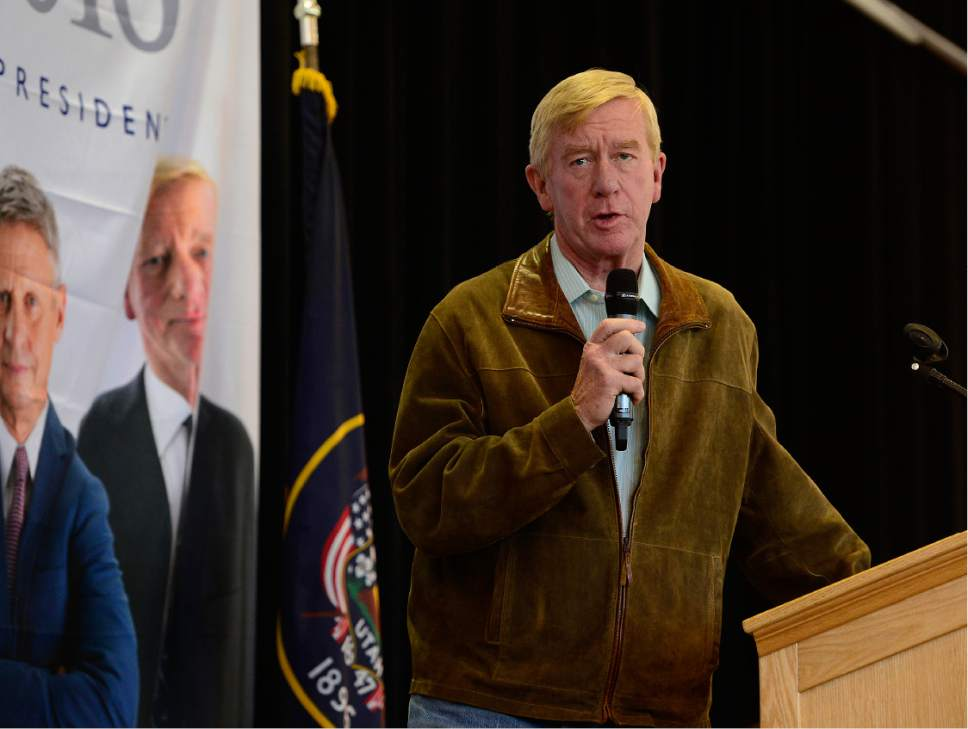 Scott Sommerdorf   |  The Salt Lake Tribune   Massachusetts Governor William Weld speaks at a rally for Gary Johnson, Libertarian for President at the University of Utah Student Union, Saturday, August 6, 2016.