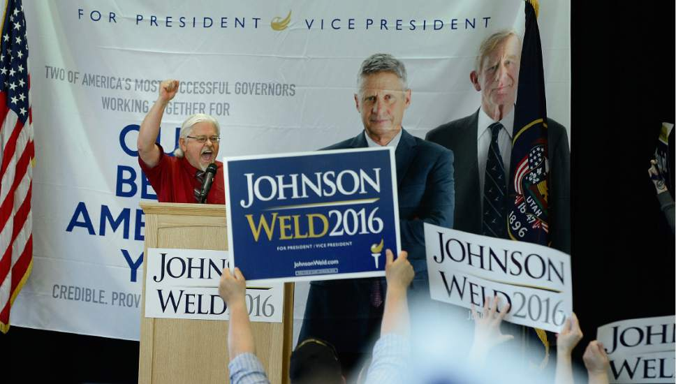 Scott Sommerdorf   |  The Salt Lake Tribune   Barry Short, running for Utah's Lt. Governor with his running mate Brian Kamerath whips up support at a rally for Gary Johnson, Libertarian for President at the University of Utah Student Union, Saturday, August 6, 2016.