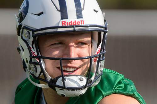 Trent Nelson  |  The Salt Lake Tribune BYU quarterback Taysom Hill at the first BYU fall camp practice under new coach Kalani Sitake, Friday August 5, 2016 in Provo.