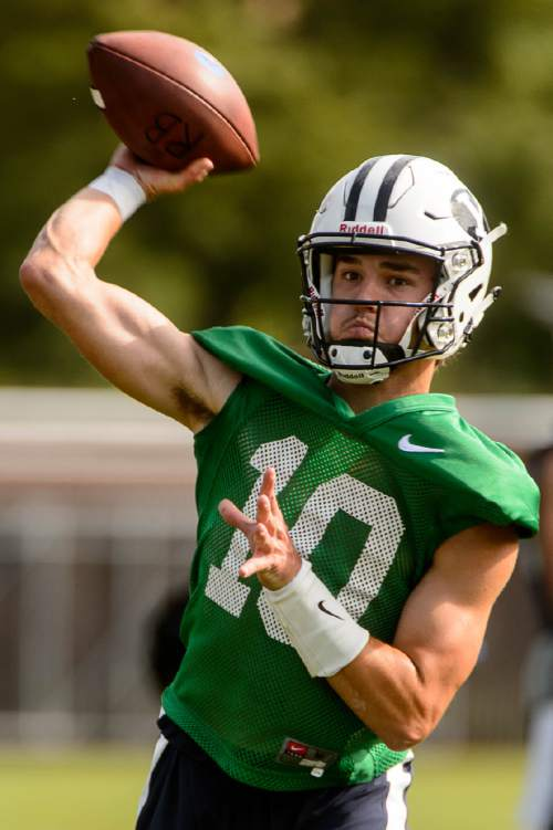 Trent Nelson  |  The Salt Lake Tribune BYU quarterback Koy Detmer Jr. at the first BYU fall camp practice under new coach Kalani Sitake, Friday August 5, 2016 in Provo.