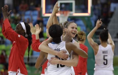 Canada guard Nirra Fields (10) and guard Kim Gaucher celebrate their team's 71-67 win over Serbia in a women's basketball game at the Youth Center at the 2016 Summer Olympics in Rio de Janeiro, Brazil, Monday, Aug. 8, 2016. Canada defeated Serbia 71-67. (AP Photo/Carlos Osorio)