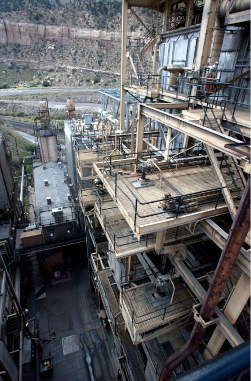 Steve Griffin  | Tribune file photo   A view from inside the Carbon Power Plant, a 60-year-old coal-fired electical-generating station, near Helper, Utah Friday, September 27, 2013. The plant was retired in April 2015 and Rocky Mountain Power has been in the process of grading and capping a nearby coal ash waste pile for permanent closure. But a rainstorm Aug. 4 sent floodwaters down Panther Canyon, overwhelmed storm water systems and pushed an estimated 2,700 cubic yards of coal ash into the Price River.