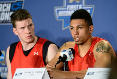 Scott Sommerdorf   |  The Salt Lake Tribune   University of Utah center Jakob Poeltl, left, and Jordan Loveridge answer questions during the interview session prior to their practice in Denver, Wednesday, March 16, 2016. They will face Fresno State Thursday.