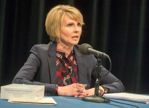 Rick Egan  |  The Salt Lake Tribune  Nursing professor Julie Valentine shares findings from a new study where she looked at the processing of 1,874 sexual assault kits, also known as rape kits during a press conference at the BYU Broadcasting Building. Thursday, April 7, 2016.