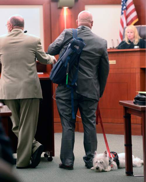 """Al Hartmann     The Salt Lake Tribune Timothy Lawson, center, dubbed a """"fixer"""" for former Utah Attorney General Mark Shurtleff appears in Judge Katie Bernards-Goodman's courtroom in Salt Lake City Monday April 25. His defense lawyer Ron Yengich, left, and his service dog Prince at his side.  Lawson is charged with six felonies -- including counts of tax evasion, witness tampering, obstruction of justice and a pattern of unlawful conduct -- stemming from allegations that he attempted to intimidate or threaten individuals with ties to Shurtleff and his successor, John Swallow."""