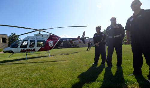 Al Hartmann  photo AirMed helicopter team hosts an event with UHP to promote highway safety Thursday May 26.