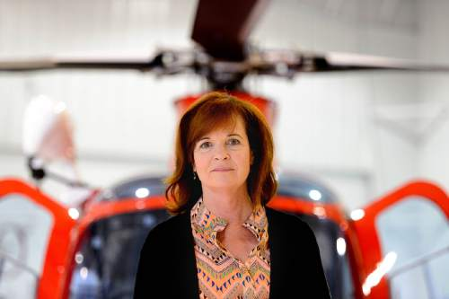 Trent Nelson  |  The Salt Lake Tribune Life Flight Executive Director Pam Moore at the company's Salt Lake City hangar, Friday May 13, 2016. The air ambulance industry in Utah has become increasingly chaotic after state officials reduced the state's regulatory role. There is no uniform standard for quality of care, billings, and aviation safety. Life Flight is Utah's most established player in this field, but is now facing competition from new providers who use cheaper aircraft and less qualified medical teams.