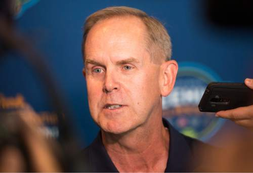 Rick Egan  |  The Salt Lake Tribune  Tom Holmoe, Athletic Director, Brigham Young University, talks about the new men's college basketball showcase featuring BYU, Utah, USU, and Weber State, at Vivint Smart Home Arena, Thursday, July 21, 2016.