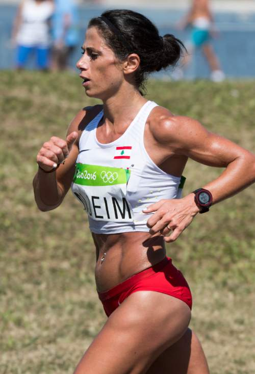 Rick Egan  |  The Salt Lake Tribune  Chirine Njeim, runs for Lebanon, in the Women's Marathon, in Rio de Janeiro Brazil, Sunday, August 14, 2016.