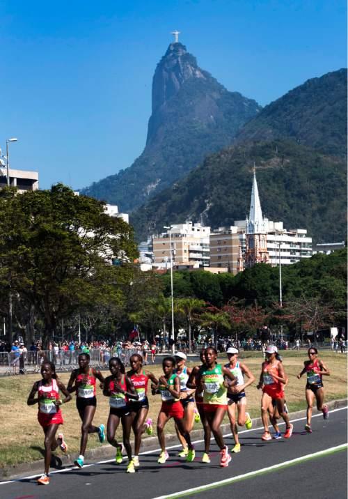 Rick Egan  |  The Salt Lake Tribune  Runners run along Aterrode Flamengo, ion the women's Marathon, in Rio de Janeiro Brazil, Sunday, August 14, 2016.