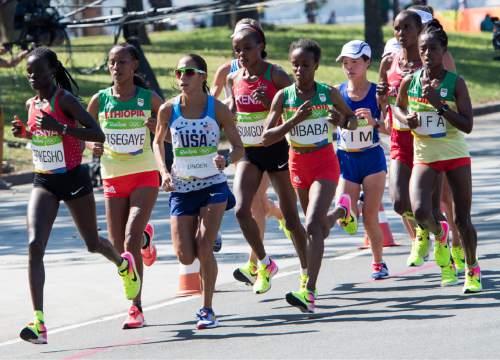 Rick Egan  |  The Salt Lake Tribune  Women's Marathon runners at the 9K mark, in Rio de Janeiro Brazil, Sunday, August 14, 2016.