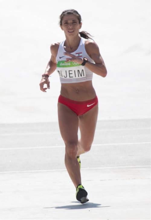 Rick Egan  |  The Salt Lake Tribune  Chirine Njeim, nears the finish line in the Sambódromo as she runs for Lebanon, in the Women's Marathon, in Rio de Janeiro Brazil, Sunday, August 14, 2016.