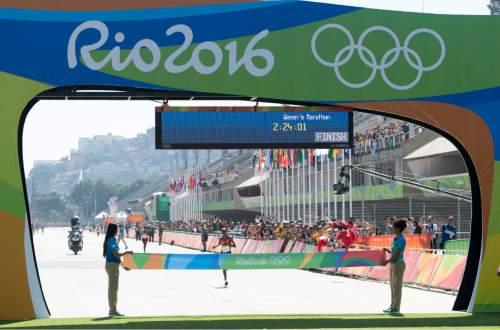 Rick Egan  |  The Salt Lake Tribune  Jemima Jelagat Sumgong  approaches the finishline for the gold medal, in the women's Marathon, in Rio de Janeiro Brazil, Sunday, August 14, 2016.