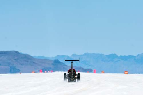 Chris Detrick  |  The Salt Lake Tribune Al Eshenbaugh and Ted Olson''s car races during Speed Week at the Bonneville Salt Flats Saturday August 13, 2016.