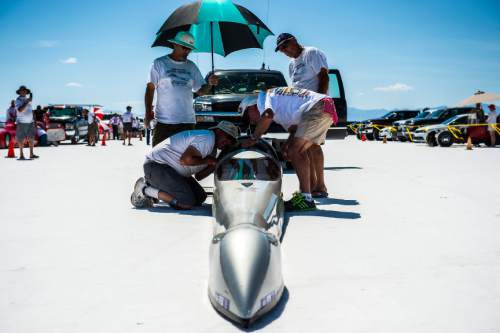 Chris Detrick  |  The Salt Lake Tribune Tim Cunha gets ready to race 'Nebulous Theorem VIII' during Speed Week at the Bonneville Salt Flats Saturday August 13, 2016.