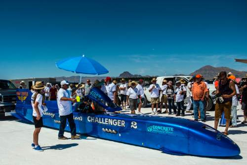 Chris Detrick  |  The Salt Lake Tribune Danny Thompson gets ready to race 'Chellenger II' during Speed Week at the Bonneville Salt Flats Saturday August 13, 2016. Thompson got 411mph on this run.