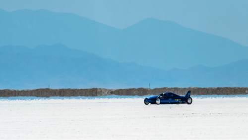 Chris Detrick  |  The Salt Lake Tribune The Ground A-Salt car races during Speed Week at the Bonneville Salt Flats Saturday August 13, 2016.