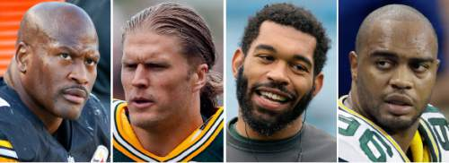FILE - From left are file photos showing Pittsburgh Steelers' James Harrison, in 2015, Green Bay Packers' Clay Matthews, in 2016, Packers' Julius Peppers, in 2015, and then-Packers player Mike Neal, in 2014. Steelers' linebacker James Harrison doesn't want to face a suspension. He is also not interested in talking to NFL representatives right now, either. The NFL has threatened Harrison and three other players with an indefinite suspension if they don't cooperate in its investigation of alleged use of performance-enhancing substances. The others are Clay Matthews, Mike Neal and Julius Peppers. Harrison spoke Tuesday, Aug. 16, 2016,  a day after the NFL's threat became public.(AP Photo/File)