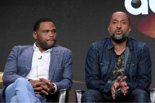 "Anthony Anderson, left, and Kenya Barris participate in the ""Black-ish'"" panel during the Disney/ABC Television Critics Association summer press tour on Thursday, Aug. 4, 2016, in Beverly Hills, Calif. (Photo by Richard Shotwell/Invision/AP)"