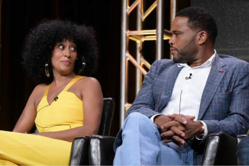 "Tracee Ellis Ross, left, and Anthony Anderson participate in the ""Black-ish'"" panel during the Disney/ABC Television Critics Association summer press tour on Thursday, Aug. 4, 2016, in Beverly Hills, Calif. (Photo by Richard Shotwell/Invision/AP)"