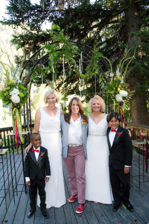 Cat Palmer?  |  Courtesy  Salt Lake City Mayor Jackie Biskupski, Betty Iverson along with their sons Archie,11, and Jack, 6 during a private wedding ceremony on August 14, 2016.